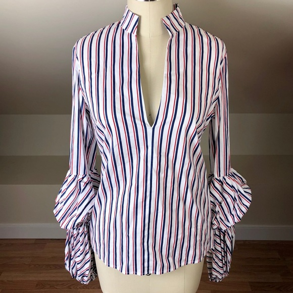 f433ca3936a8f Greysn Tiered Puff Sleeve V-neck Striped Blouse
